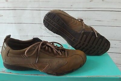 bd414d90b794e Womens Skechers Size 11 M Brown Leather Suede Walking Biking Hiking Lace Up