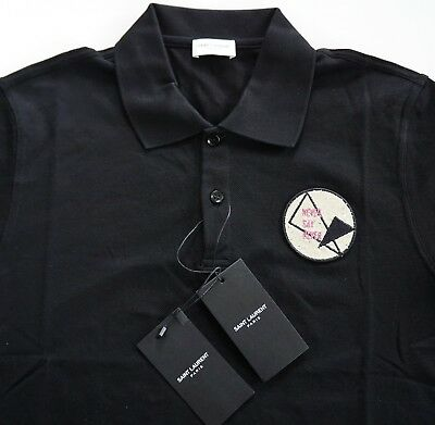 04e4f816a74 NWT Authentic SAINT LAURENT Paris *NEVER SAY NEVER* Black Cotton Polo Shirt  L