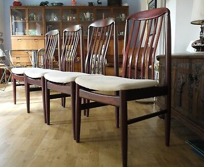Set of 4 Benny Linden rosewood dining chairs. 60s 70s vintage retro Danish