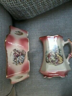 Ironstone Staffordshire Pottery Jug And Bowl. Lovely Colours And Condition.