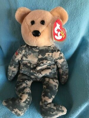 Mint! Ty Beanie Baby ~ SALUTE the Military Bear ~ MWMT RETIRED 2006 Great gift