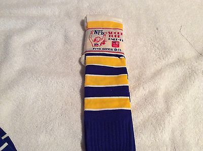 Vintage Blue, Yellow And White NFL Sport Tube Knee-Hi Socks Size 9-11(RARE)