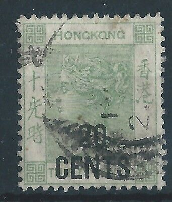 Hong Kong 1891 SG 45 Queen Victoria 20c overprinted definitive used
