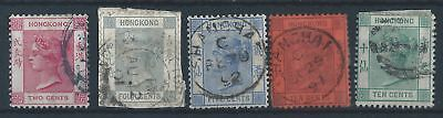 Hong Kong 1882 SG 32, 34, 35, 37a, 38 Queen Victoria definitive stamps used