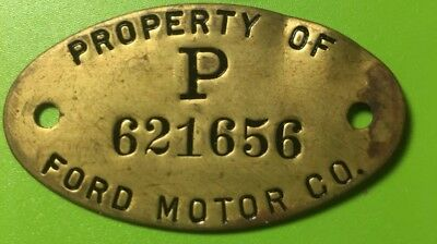 Vintage FORD Motor Co.  Property  Brass Tag
