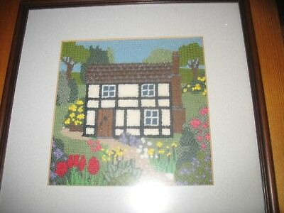 Vintage Tudor Cottage & Garden Tapestry with Textured Stitching Framed