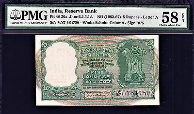India Vintage 5 Rupees P-36a Old Vintage BanknoteUNC PC Bhattacharya Sign