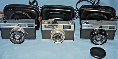 A Vintage Collection Of 3 Canon Canonet Rangefinder Cameras