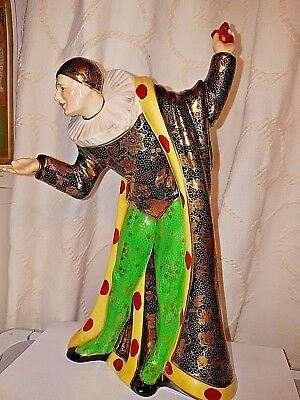 """LARGE RARE TUSCAN CHINA PLANT PIERROT FIGURINE """"THE LAST WALTZ"""" 1930S with GOLD."""