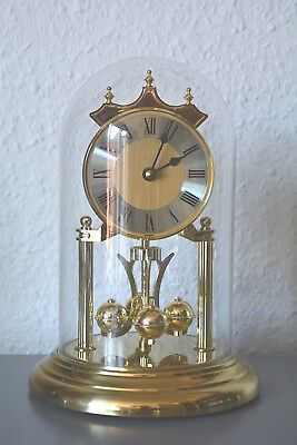 VINTAGE Glass dome mantle clock. Germany. Running. Brass