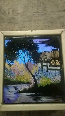 Vintage reverse glass morpho butterfly wing painting miniature art cottage scene