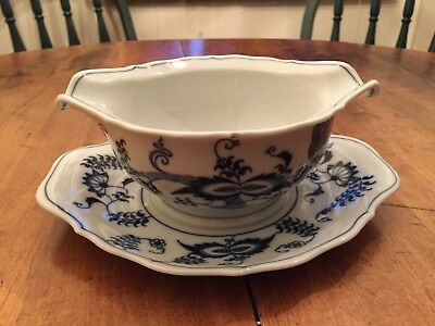 Blue Danube Gravy Boat with Attached Underplate Rectangle Backstamp