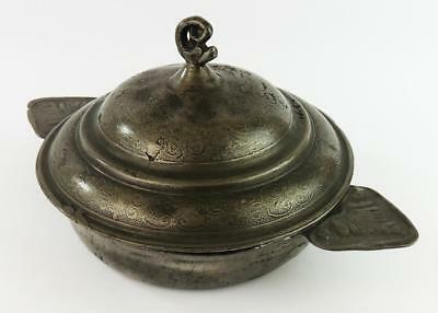 18th CENTURY FRENCH Antique PEWTER TWIN EARED PORRINGER