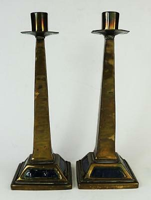 Pair ARTS & CRAFTS BRASS CANDLESTICKS c1910