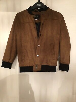River Island Boys Age 8 Tan/black Faux Suede Jacket Immaculate