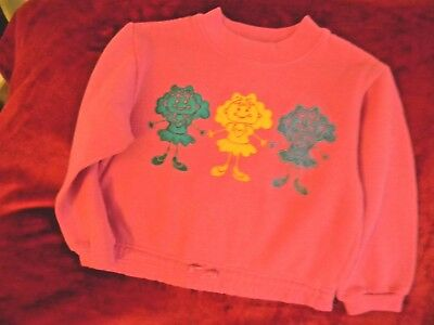 Vintage Girls size 5-6 pink sweatshirt cotton polyester blend U-BET