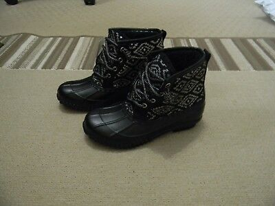 Nwt Justice Girls Black/silver Duck Rain Boots 3