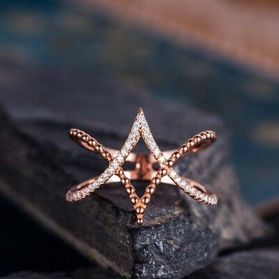Special Wedding Jewelry Women Round Cubic Zirconia Rose Gold Plated Cross Ring