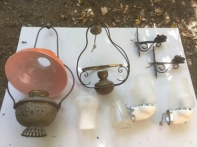 Antique lamp lights shades glass wrought iron retro vintage