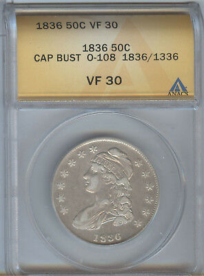 1836/1136 Capped Bust Half, Anacs Vf-30