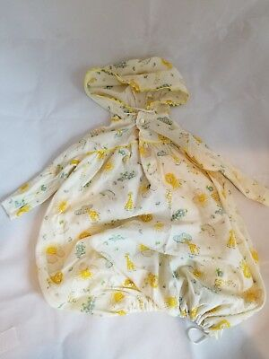Vintage 70s Newborn Baby Layette Gown with zoo animals and sunshines pre-owned