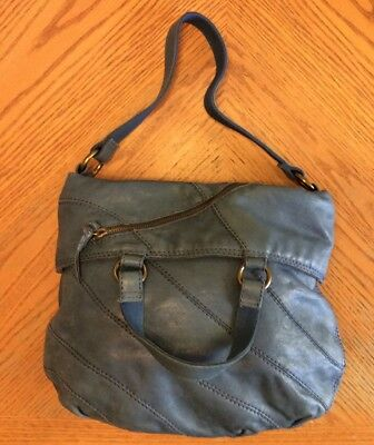de6056b5e4e6 Lucky Brand Blue Italian Lamb Leather Convertible Shoulder Bag Hobo Purse  Guc
