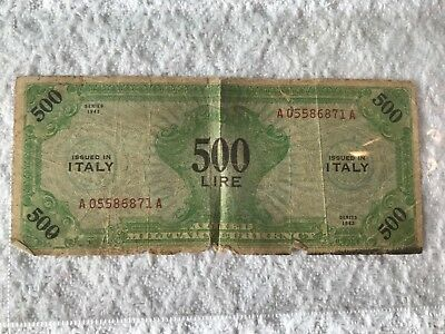 1943 Allied Military Currency 500 Lire Banknote Italy