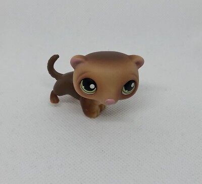 Littlest Pet Shop #209 LPS Brown Ferret Green Eyes Hasbro Authentic