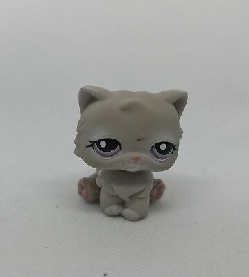 Littlest Pet Shop #263 LPS Grey Persian Cat Kitty Purple Eyes Hasbro Authentic