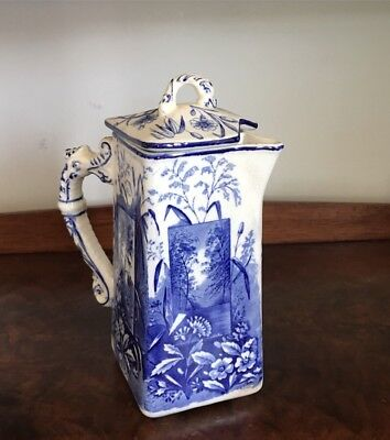 "Ridgways  Vista Aesthetic Movement Blue Transferware Pitcher 7""tall c.1880"