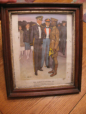 Vintage WW2 The American Soldier U.S Army Wood Framed Government Print, 1941