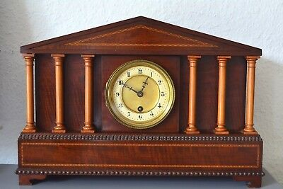 HAC Edwardian inlaid / hand carved mantle clock. Made in Germany. Large size.