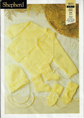 f224d8397e9f BABY KNITTING PATTERN VINTAGE matinee jacket bonnet booties mitts ...