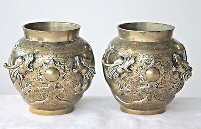 A pair of vintage chinese brass pots urns dragons chasing flaming pearl