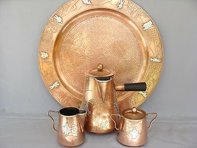 Victoria Taxco Mexican Scenic Copper Sterling Silver Coffee Tea Set with Tray