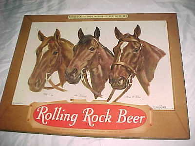 RACE HORSES - vintage ROLLING ROCK BEER SIGN  -   3x18    INLAND LITHO   CHICAGO