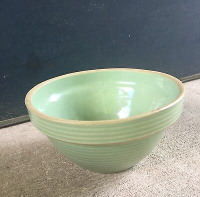 Antique Western Stoneware Vintage Yellow Ware Green Shoulder Mixing Bowl