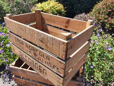 Vintage Wooden British Apple Fruit Crates Rustic Old Bushel Box Shabby Chic