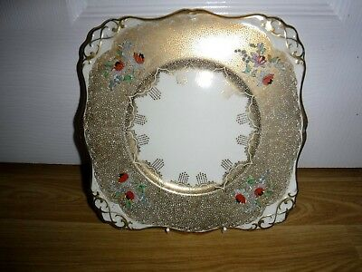 Tuscan Art Deco Hand Painted Cake Plate ~ Heavily Gilded