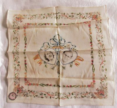 Rare Vintage Rayon Hanky~1947 Royal Wedding~Elizabeth~Philip~With Tag