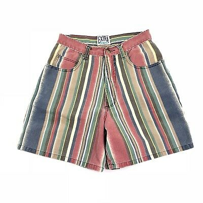 Vintage Vertical Striped High Waisted Mom Shorts Sz 7 80s 90s Color Block Retro