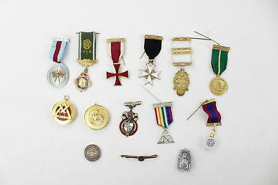 14 x Vintage MASONIC & R.A.O.B Base-Metal Medals & Jewels