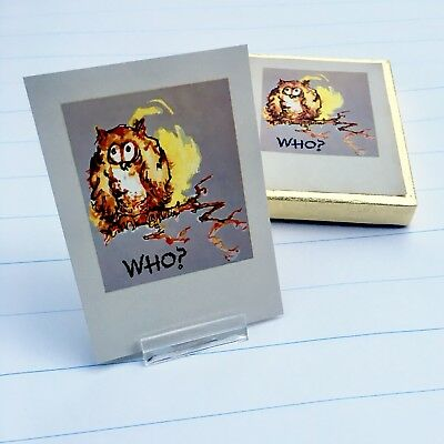 Vintage Owl Bookplates Made in USA by ANTIOCH Orig. Box 52 Gummed Paper Labels