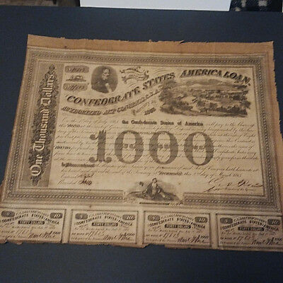 1863 Confederate States Of America 1000 Dollar 8% Bond W/4 coupons #17603