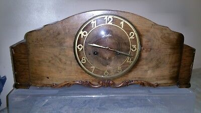 A Very Large German Oak & Walnut Mantle Clock by Junghans Dated July 1939