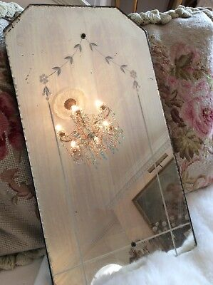 SHABBY SWEET PETITE Vtg EtcHed Mirror Antique GlAss Flowers OLD