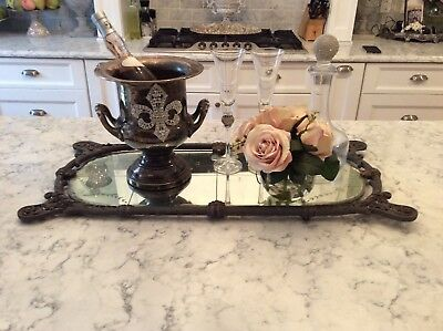 AS IS SHABBY Antique VTG Etched FLOWER Mirror Metal Frame OLD DISPLAY MIRROR