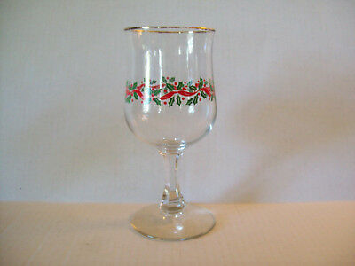 """Arby's Christmas goblet green holly red ribbon gold rim 6-3/4"""" tall"""