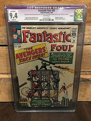 Fantastic Four #26 Cgc 9.4 Nm Thing Vs Hulk Restored White Pages Avengers