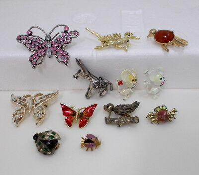 Lot of 12 Vintage to New Mixed Animal Pin Brooches Rhinestone Enamel